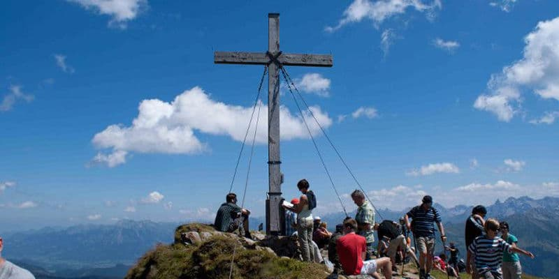 bovenop een berg in salzburgerland